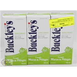 LOT OF 3 BUCKLEYS MUCUS AND PHLEGM COUGH SYRUP