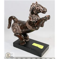 INDIAN HORSE CARVING ON WOODEN BASE