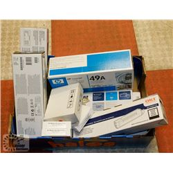 BOX OF ASSORTED INKJET INK AND TONERS INC HP