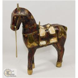 WOODEN HORSE WITH BRASS & MARBLE