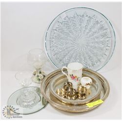 LOT OF COLLECTIBLES INCL SILVER PLATED TRAYS,