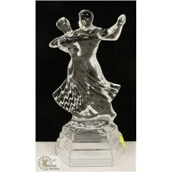 "WALTZING COUPLE GLASS FIGURINE. 10"" TALL"