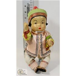 ASIAN STYLE PORCELAIN DOLL ON STAND