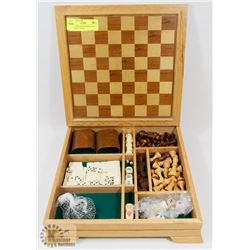 5 IN 1 GAMES SET IN WOOD CASE - CHECKERS, CHESS,