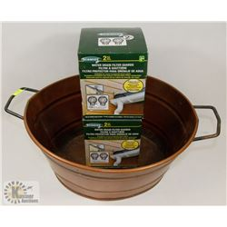 BRONZE COLORED HANDED METAL TUB WITH 2 PACKS