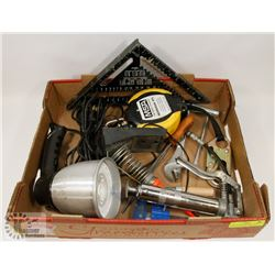 FLAT OF ASSORTED HANDYMAN TOOLS, SPOTLIGHT, MSA
