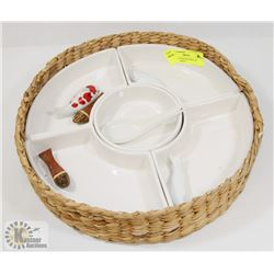 6 SECTION SERVING TRAY IN WICKER BASKET