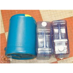 3 PLASTIC WATER CONTAINERS - 1 RELIANCE 5 GALLON,