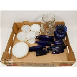 ASSORTED MILK GLASS, TEA SET, PITCHER & BLUE GLASS