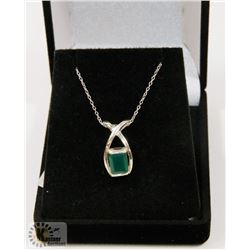 #50-GREEN CZ PENDANT & NECKLACE