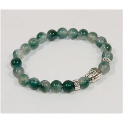 #11-NATURAL GREEN FLUORITE BEAD BRACELET