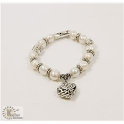#77-FRESH WATER PEARL WITH HEART SHAPE BRACELET