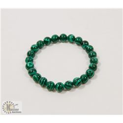 #67-NATURAL MALACHITE BEAD BRACELET 8MM