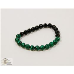 #71-NATURAL MALACHITE & MATTE BEAD BRACELET 8MM