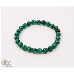 #69-NATURAL MALACHITE & MATTE BEAD BRACELET 8MM