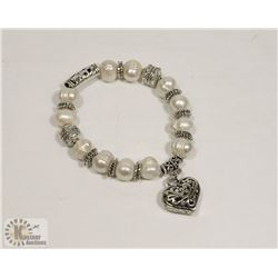 #78-FRESH WATER PEARL WITH HEART SHAPE BRACELET