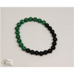 #73-NATURAL MALACHITE & MATTE BEAD BRACELET 8MM