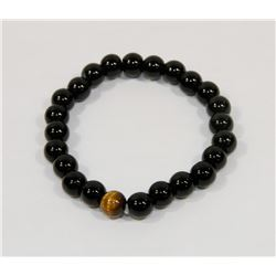#13-NATURAL BLACK AGATE & TIGER EYE BEAD BRACELET