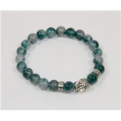 #120-NATURAL GREEN FLUORITE BEAD BRACELET 8MM