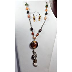 18)  BRONZE COLORED CHAIN WITH AMBER