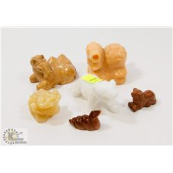 BUNDLE OF SANDSTONE ANIMAL FIGURES