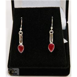 #91-NATURAL RED RUBY DANGLING  EARRINGS