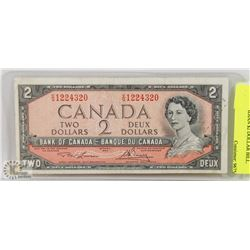 1954 CANADIAN $2 DOLLAR BILL.