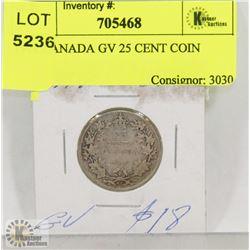 1918 CANADA GV 25 CENT COIN