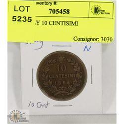 1866 ITALY 10 CENTISIMI