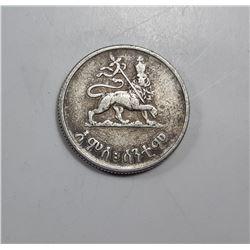 4)  ETHIOPIAN 1936 SILVER 50 CENT COIN