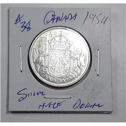 2)  CANADIAN 1954  SILVER 50 CENT COIN