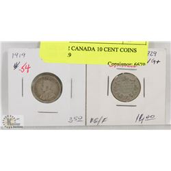 LOT OF 2 CANADA 10 CENT COINS 1919, 1929