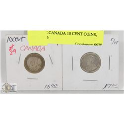 LOT OF 2 CANADA 10 CENT COINS, 1914, 1916