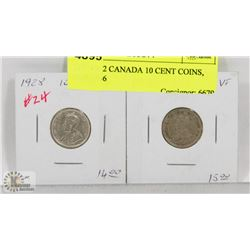 LOT OF 2 CANADA 10 CENT COINS, 1928,1936
