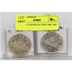 LOT OF 2 CANADA $1 COIN 1960, 1961