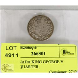 1935 CANADA KING GEORGE V SILVER QUARTER