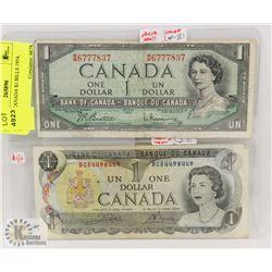 LOT OF 2 CANADA $1 BILLS 1954, 1973