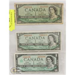 LOT OF 3 OF CANADIAN $1 BILLS