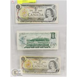 1973 STOCK SHEET LAST OF CANADA ONE DOLLAR BILLS