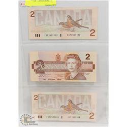 1986 LOT OF 3 CANADA $2 BILLS