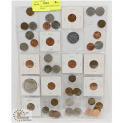 STOCK SHEET OVER 40 MIXED DATE CANADA COINS