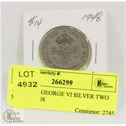 1948 KING GEORGE VI SILVER TWO SCHILLINGS