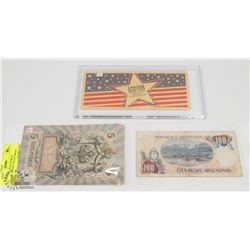 LOT OF ASSORTED WORLD CURRENCY AND COLLECTIBLES