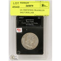 1950 P USA CERTIFIED FRANKLIN SILVER HALF DOLLAR