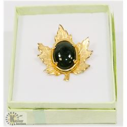VINTAGE ESTATE MAPLE LEAF BROOCH WITH A STONE