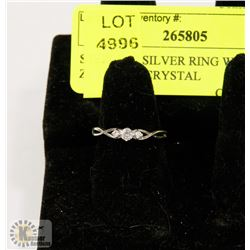 STERLING SILVER RING W/ CUBIC ZIRCONIA CRYSTAL