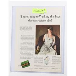 1929 PALMOLIVE COLOR AD FRAMED