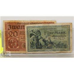2 GERMAN BANK NOTES 20 MARKS 1918,  5 MARK 1904
