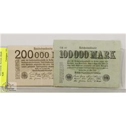 1923 GERMAN BANK NOTES 100,00 MARK, 200,00