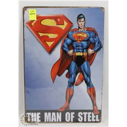 "NEW 12"" X 8"" MAN OF STEEL METAL SIGN"